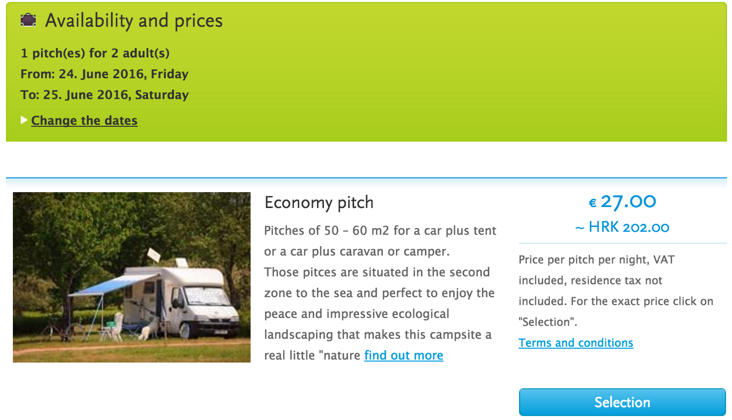 Camping online booking availability