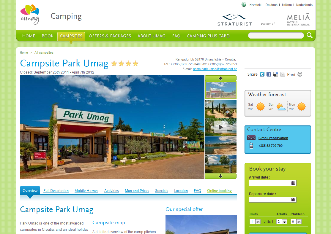 Camping website screenshot