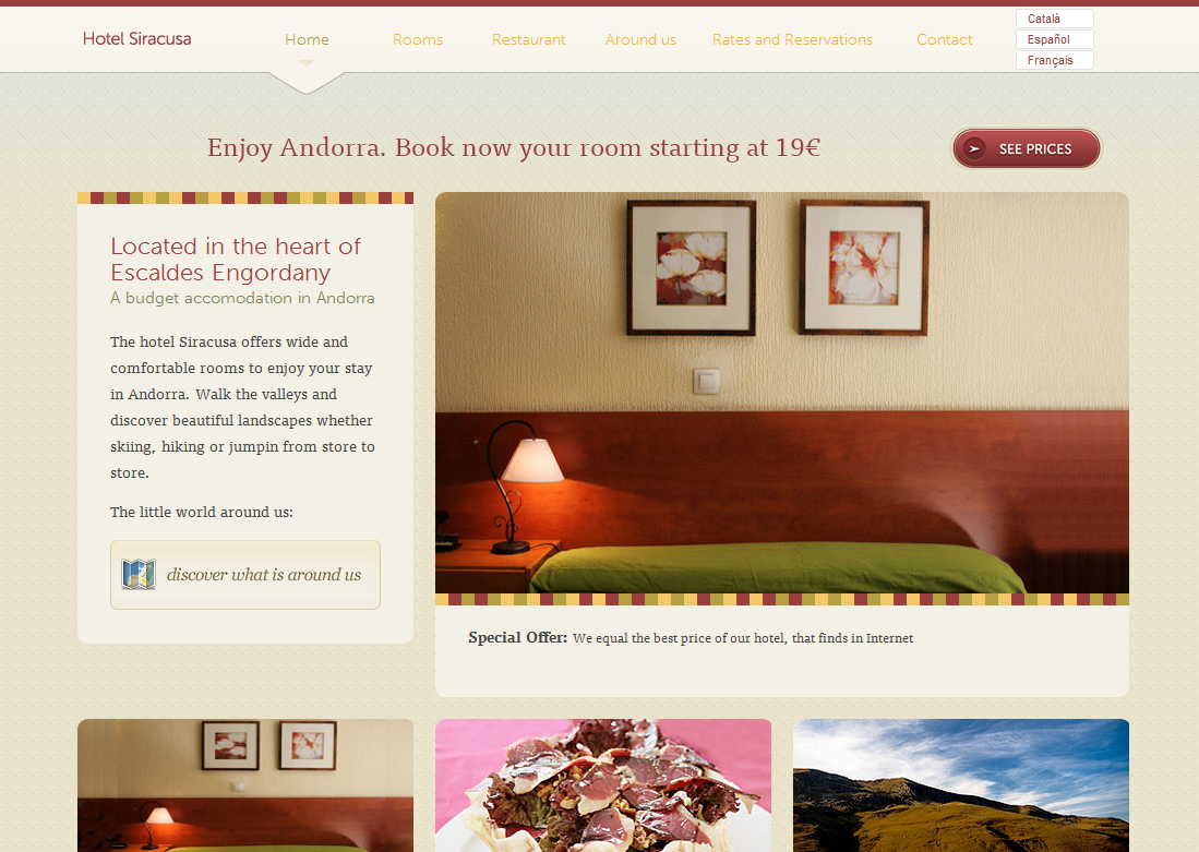 Hotel website screenshot