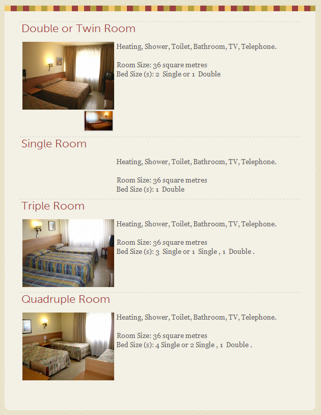 Hotel rooms webpage