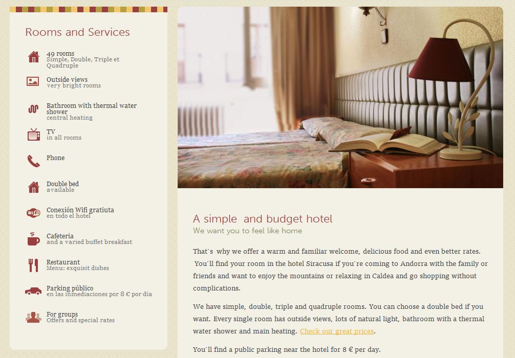 Hotel room webpage
