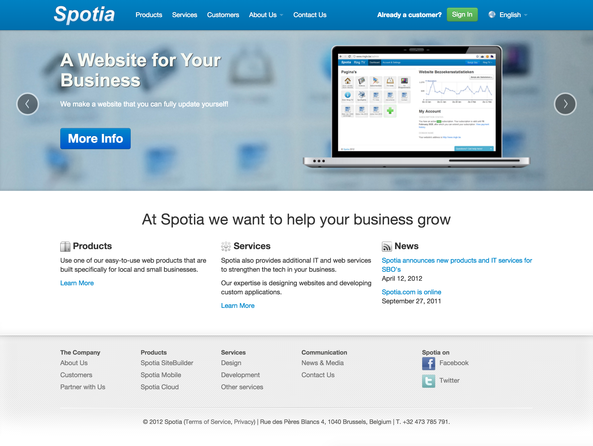 Spotia old website 2011